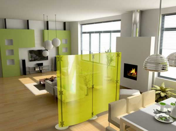 Portable Room Partitions Glass in Yellow