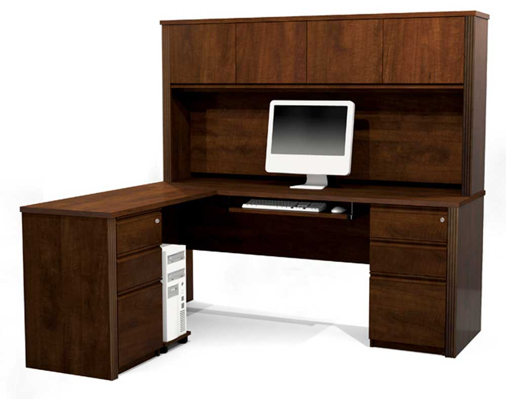 Prestige wooden L-Shaped computer desk with Hutch and Storage