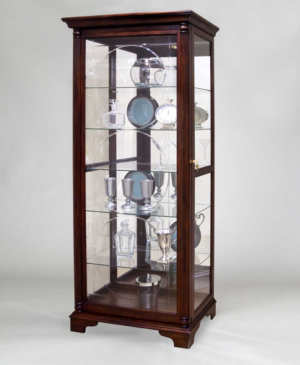 You could also use a full standing curio cabinet like this: