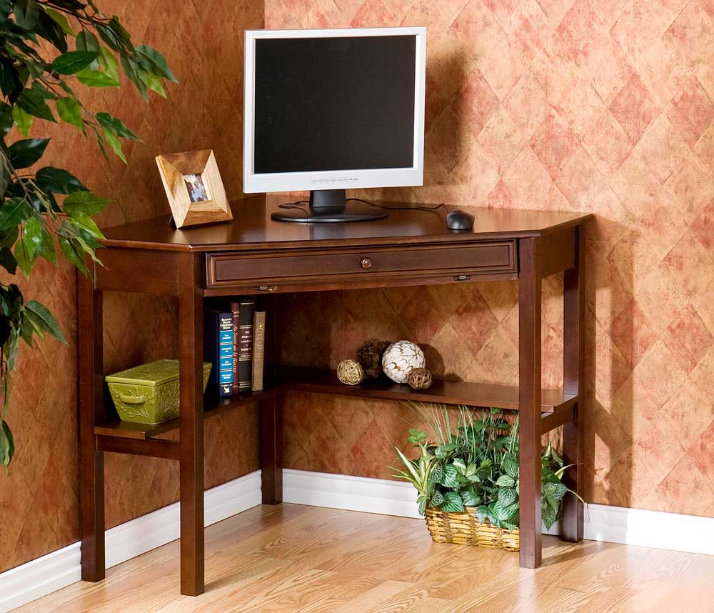 SEI computer wooden corner desk in espresso finish