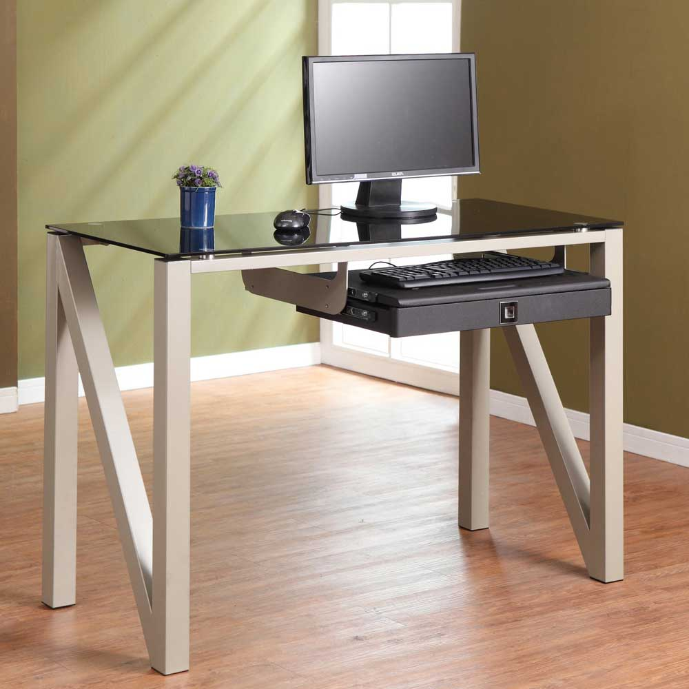 Small Z Tempered Glass Computer Desk