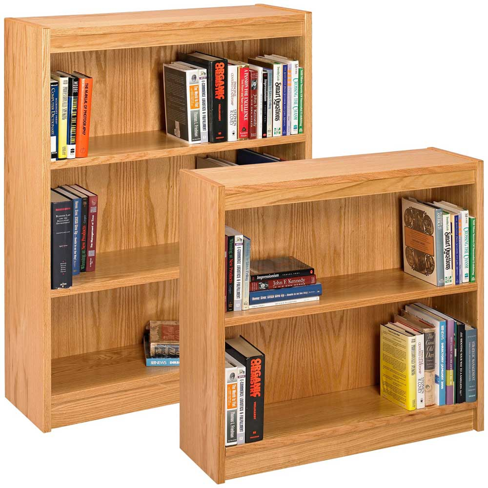 Solid oak space-saving bookshelves