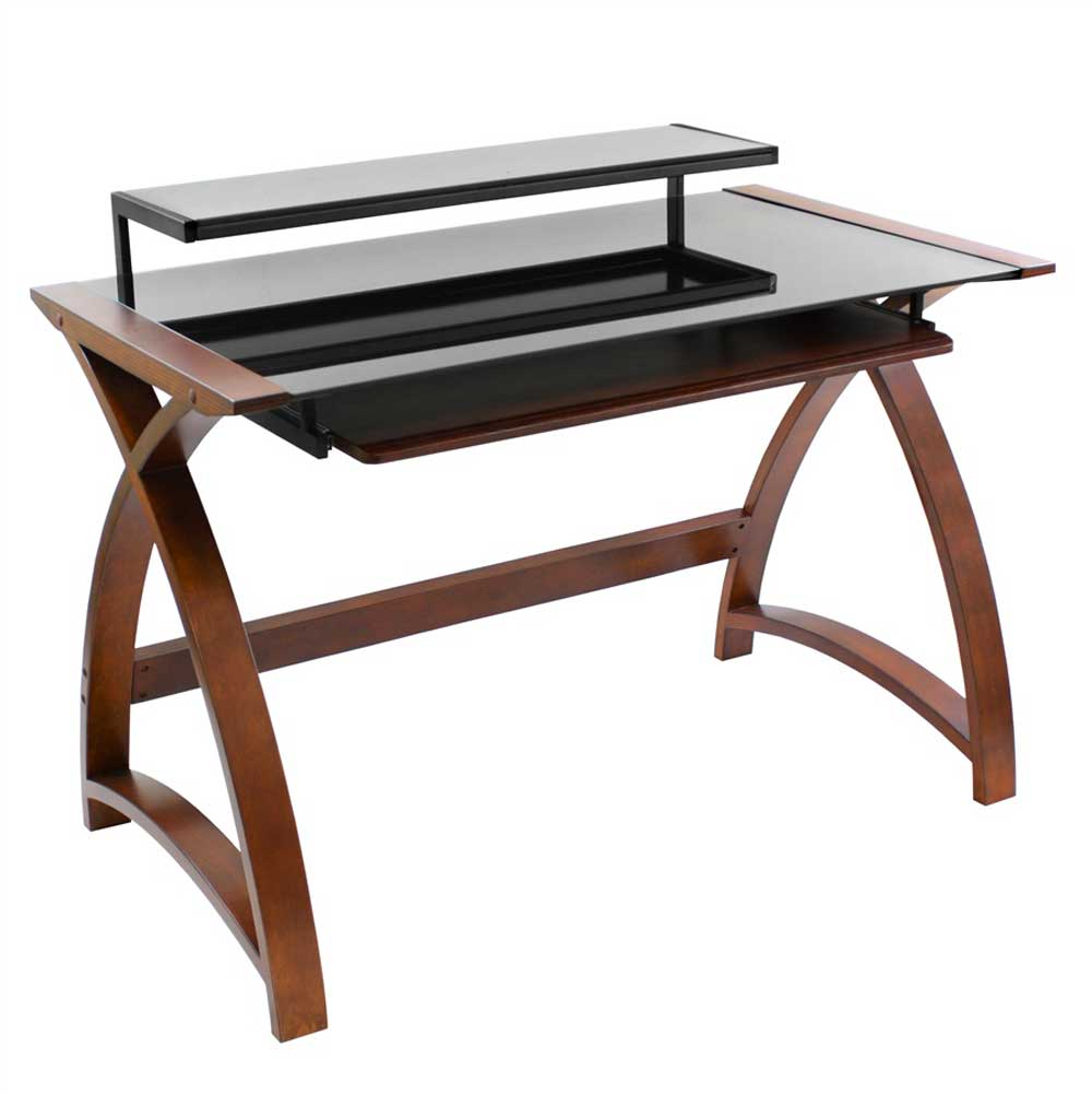 Solid walnut veneer finish computer desk