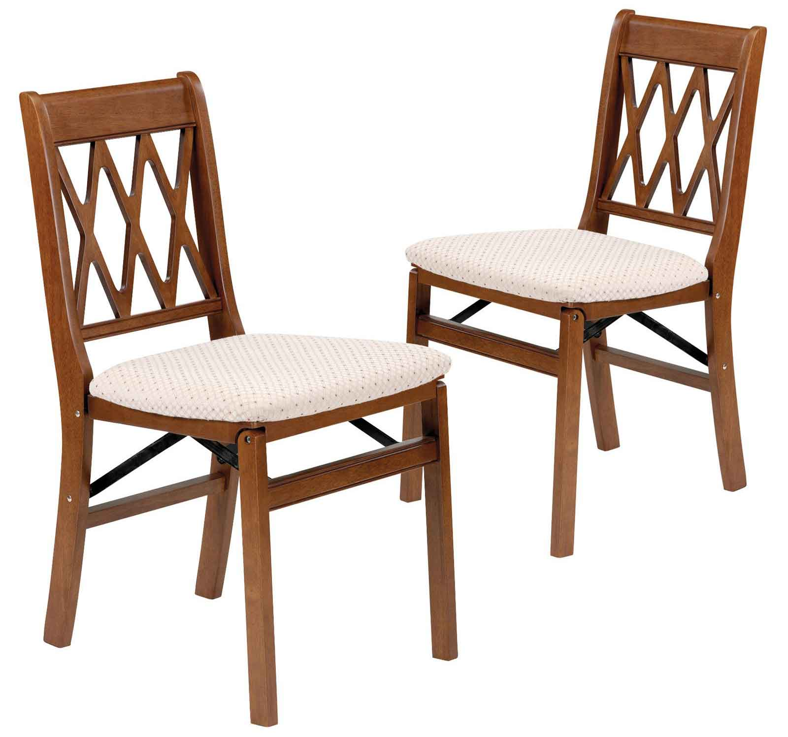 Stakmore Lattice Upholstered Seat Wood Folding Chairs