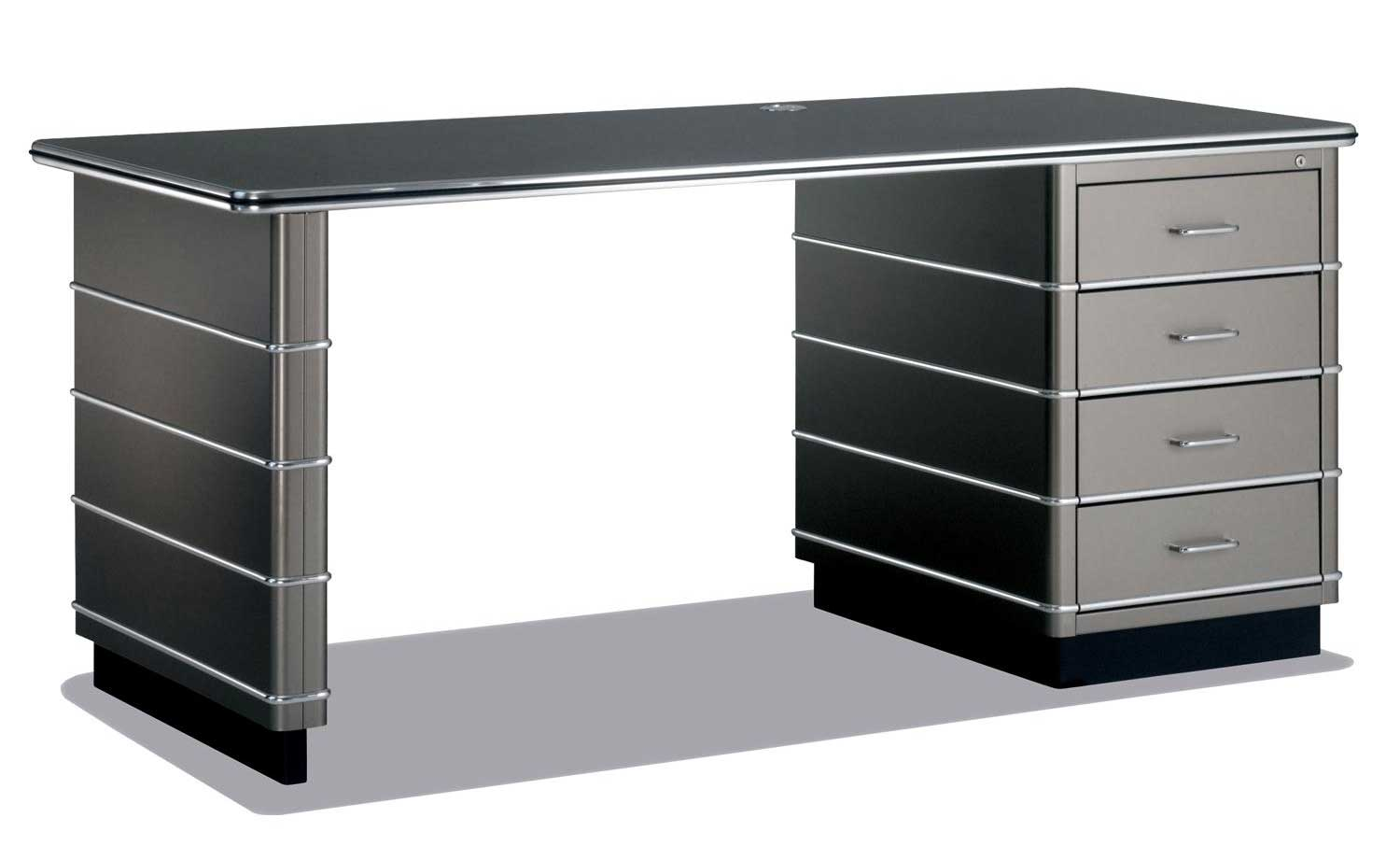 TB Black Office Table with Storage in Classic Line