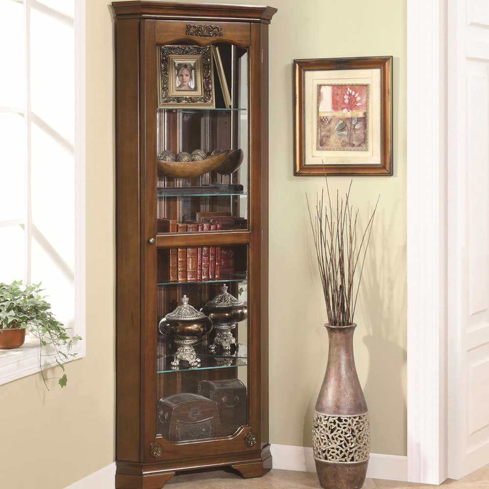 Corner Curio Cabinets with Glass Doors