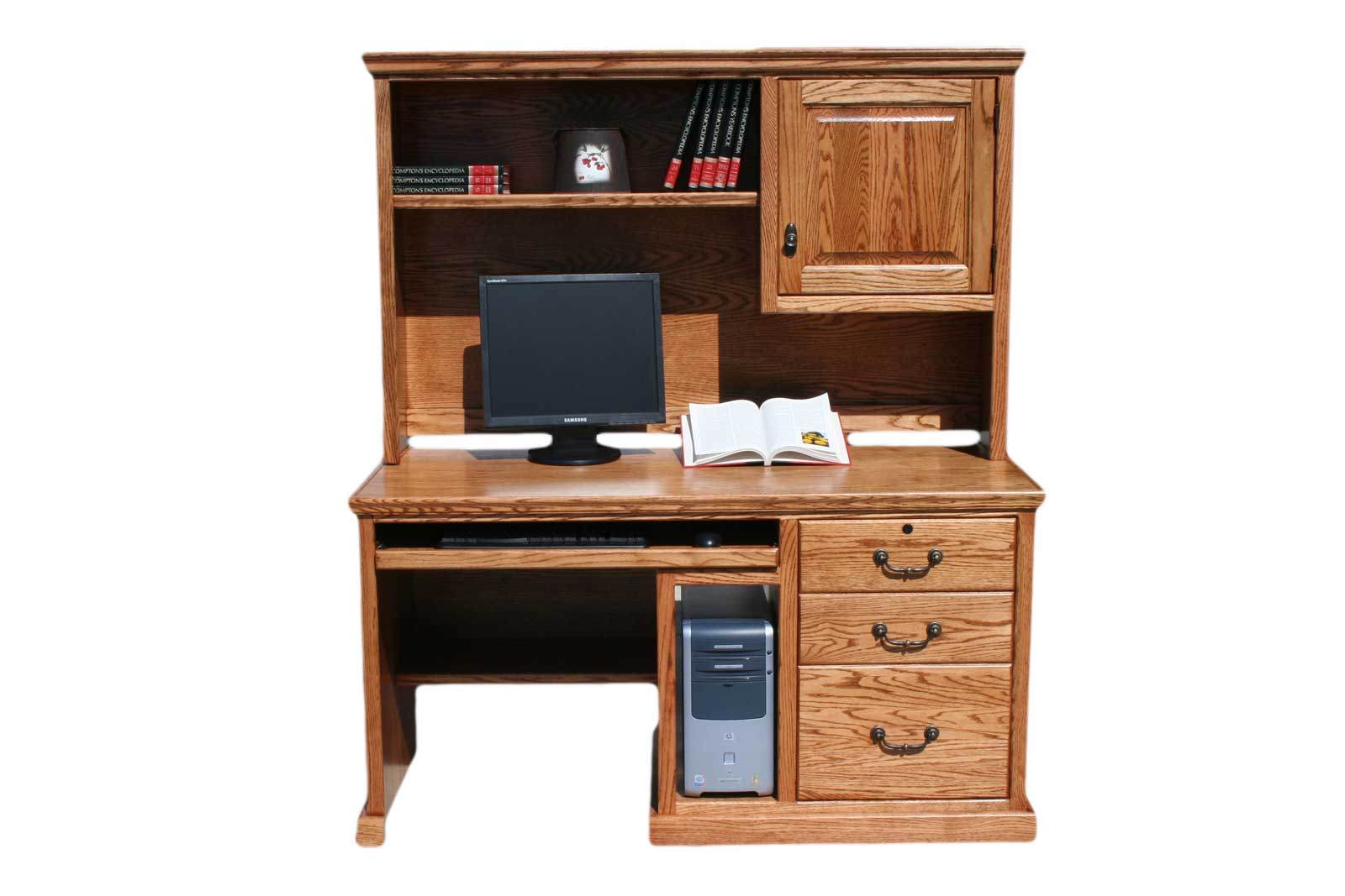 Traditional oak home office computer desk