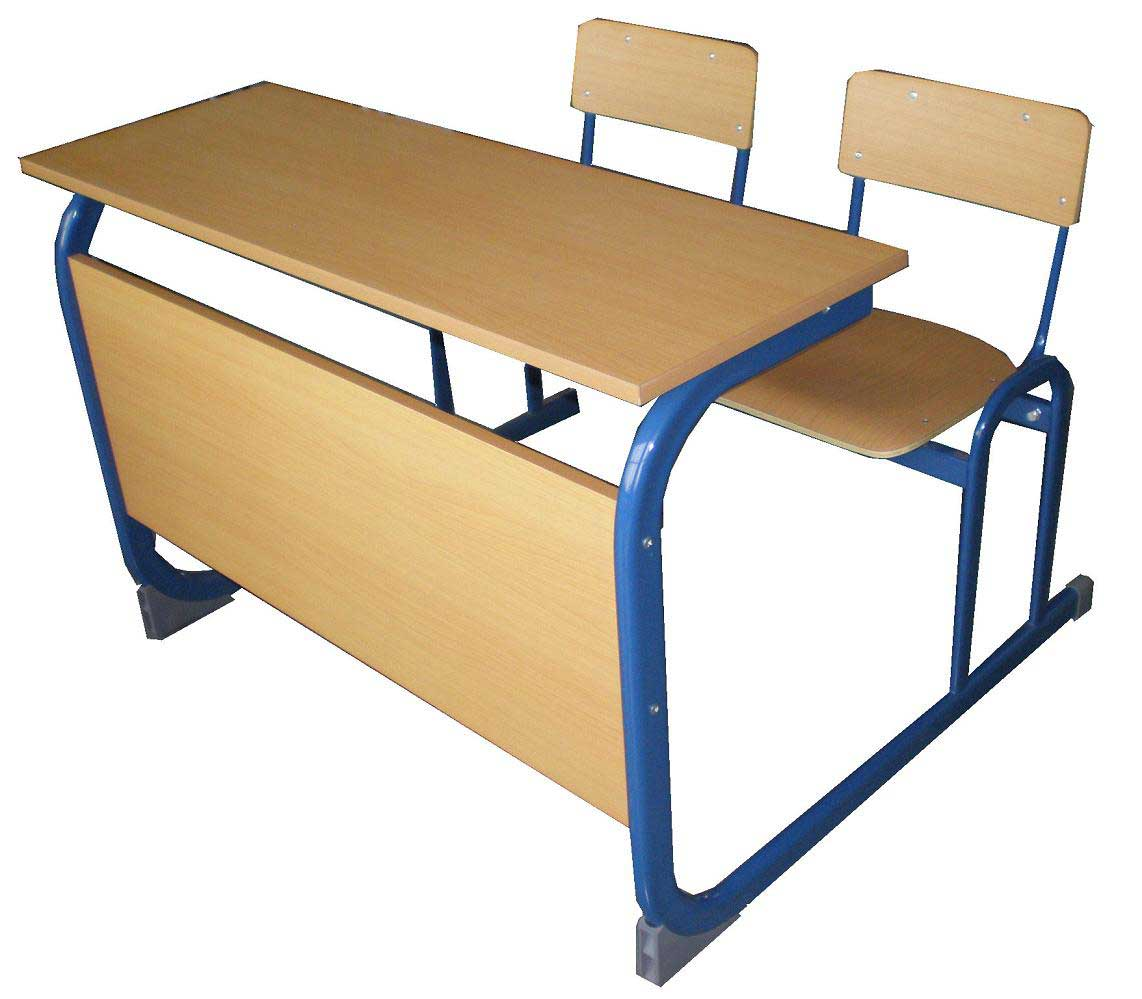 Two person solid wood schools desk chair