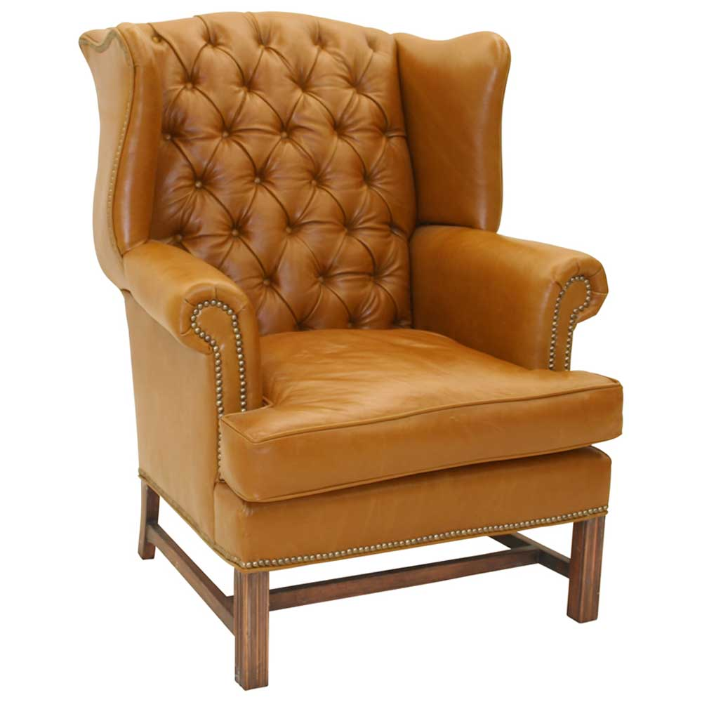 Vintage Brown Leather Wingback Armchair from Hickory Tannery
