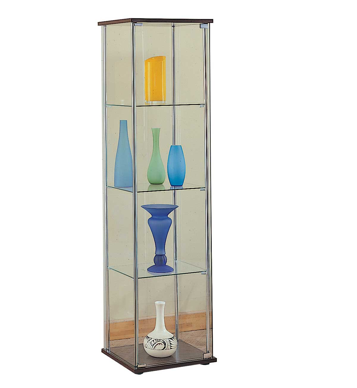 four shelves glass curio cabinets with lights