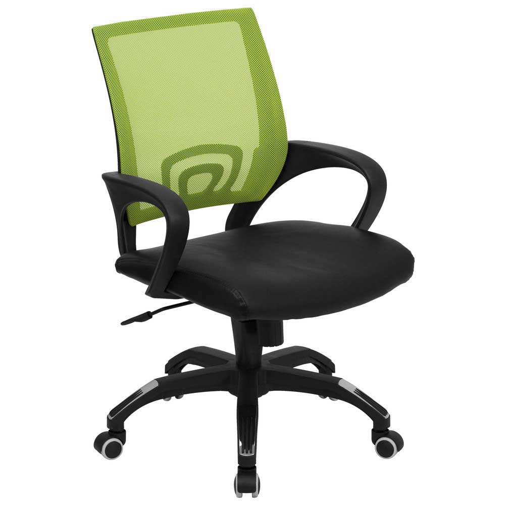 mesh green office chairs with black leather seat