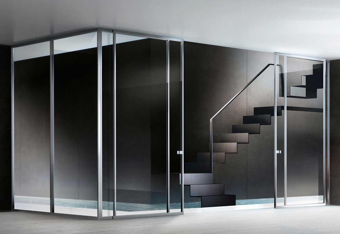 Movable glass walls as amazing interior design for Glass walls