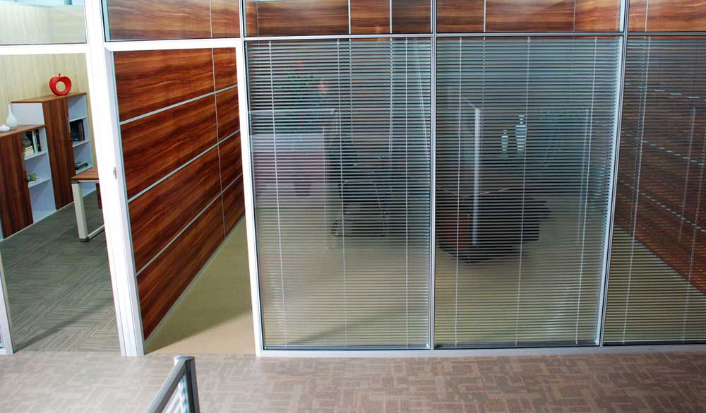 Movable office walls for a wide open space Opening glass walls