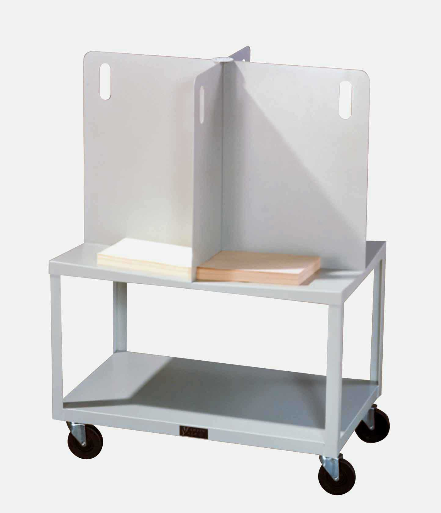 white mobile office paper table