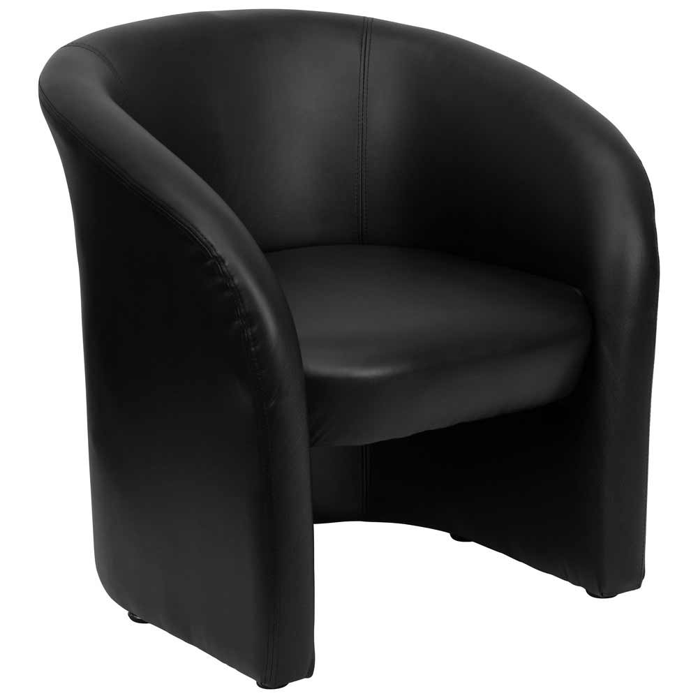 Black leather reception chairs for office