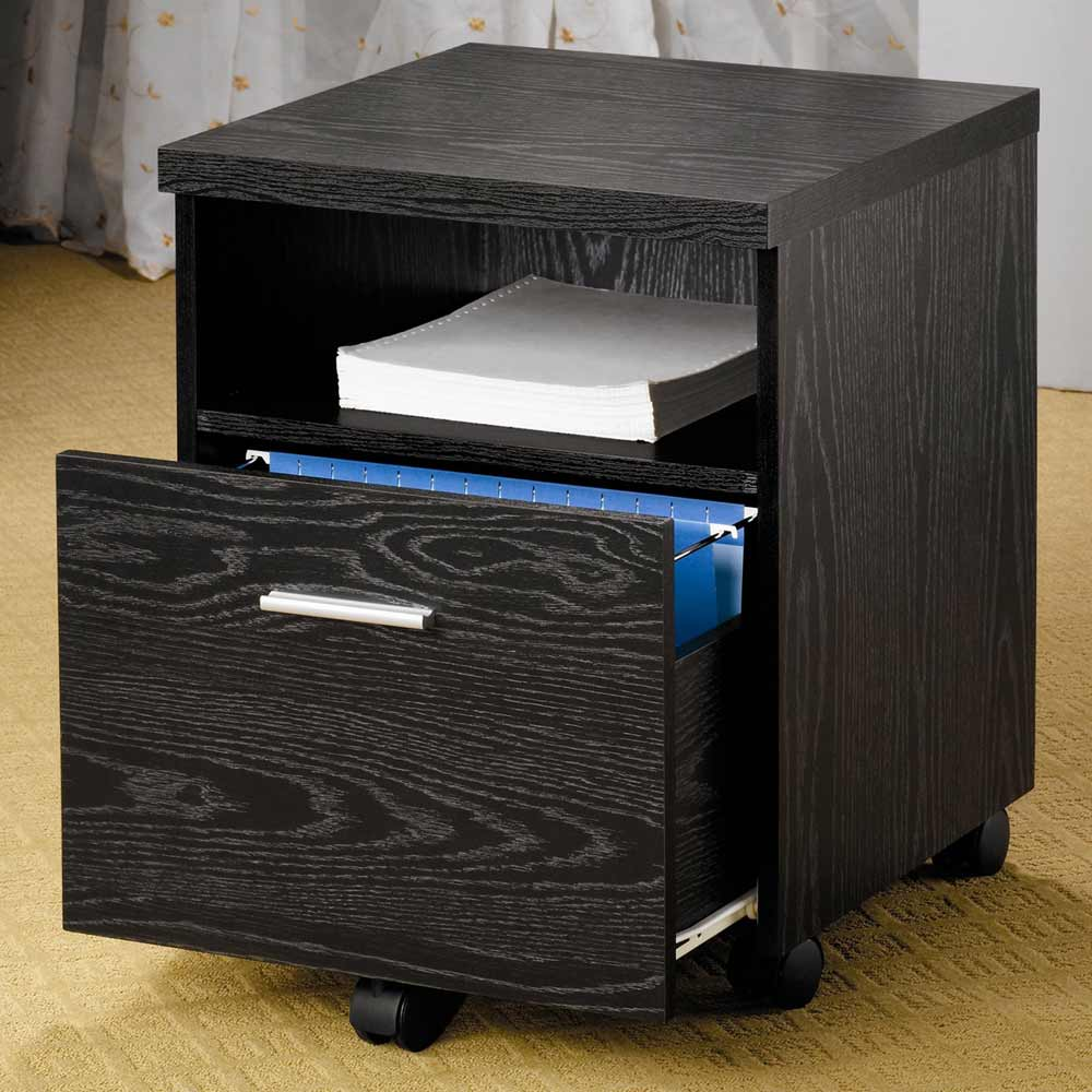 Coaster Black Mobile File Storage for Home Office