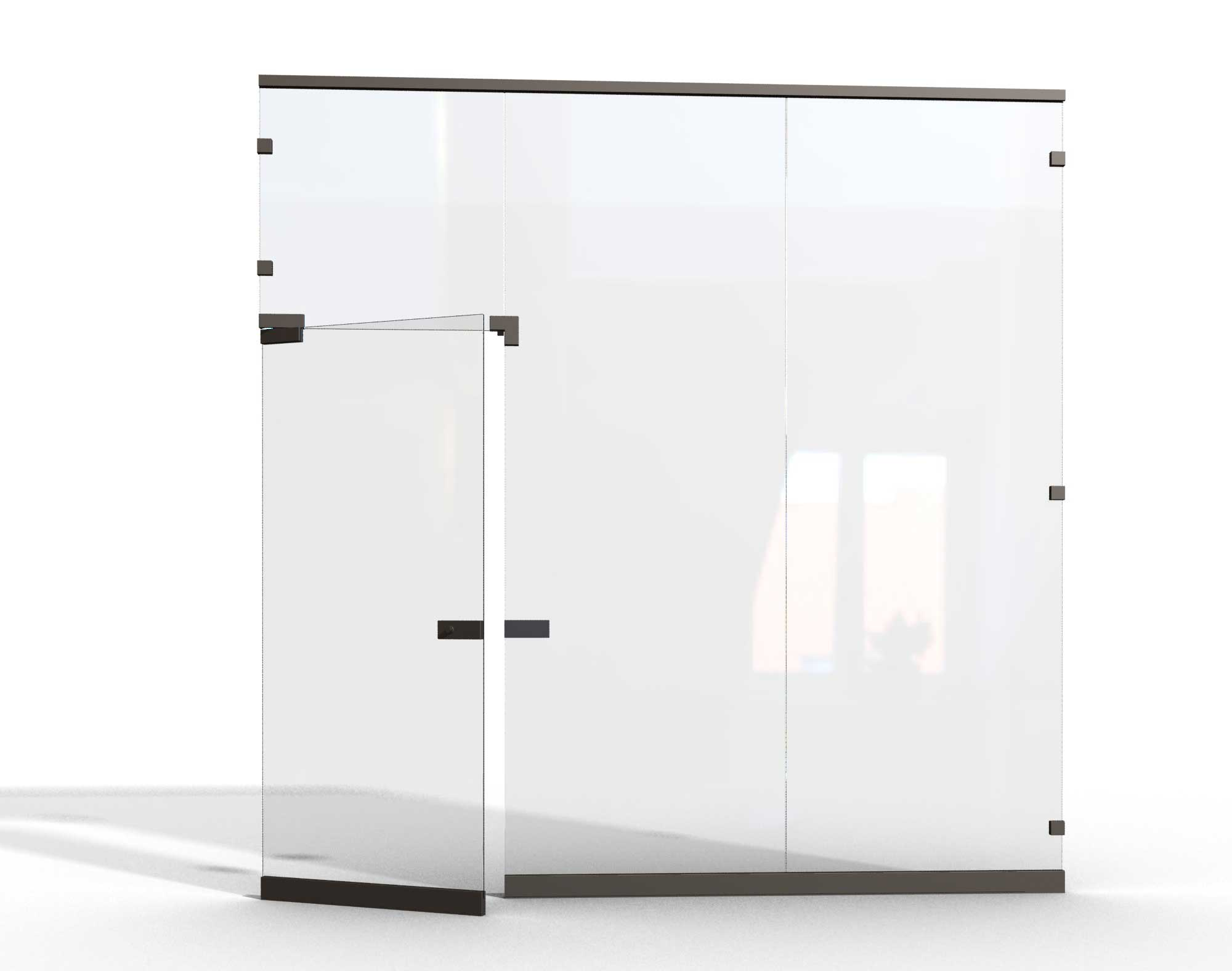 Contemporary sliding glass dividers for office