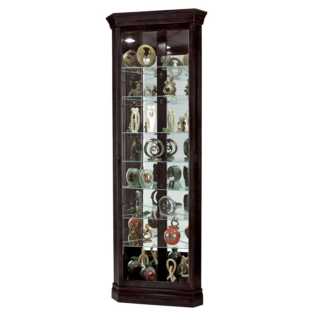 Duane black corner curio cabinet from Howard Miller