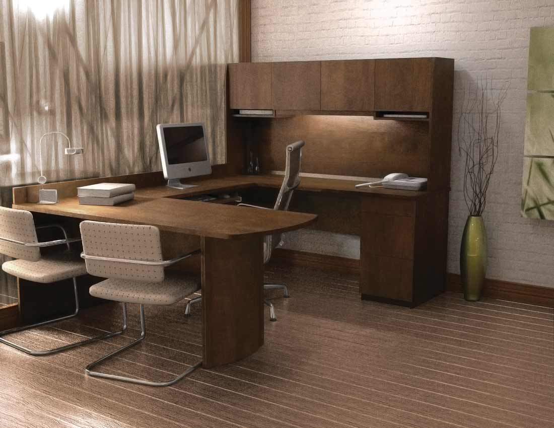 Ergonomic director L-shaped computer desk with chair