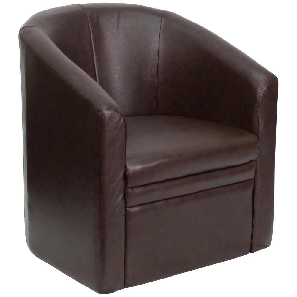 Genuine brown leather reception chairs