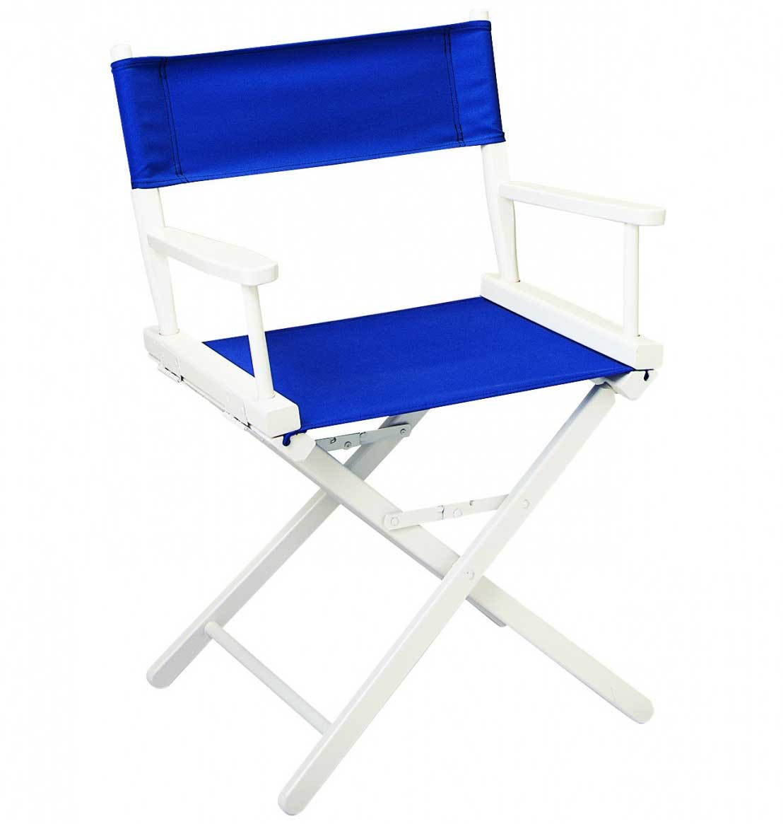 Gold Medal contemporary blue directors chair in white frame