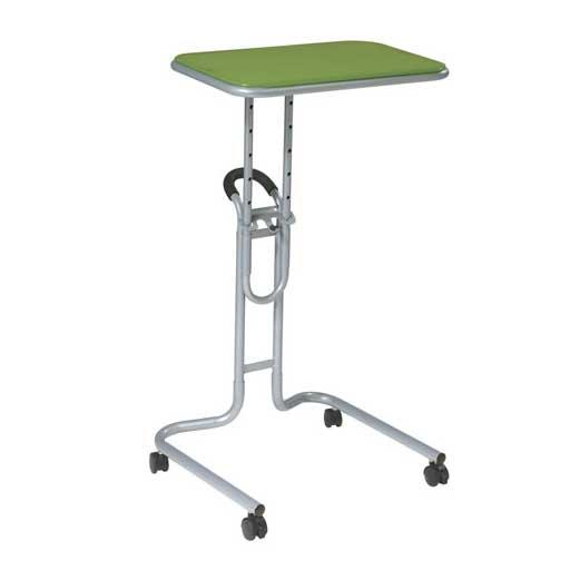Green padded aluminum laptop reading cart
