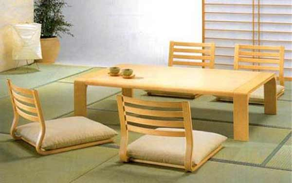 Japanese wood portable floor chair and desk