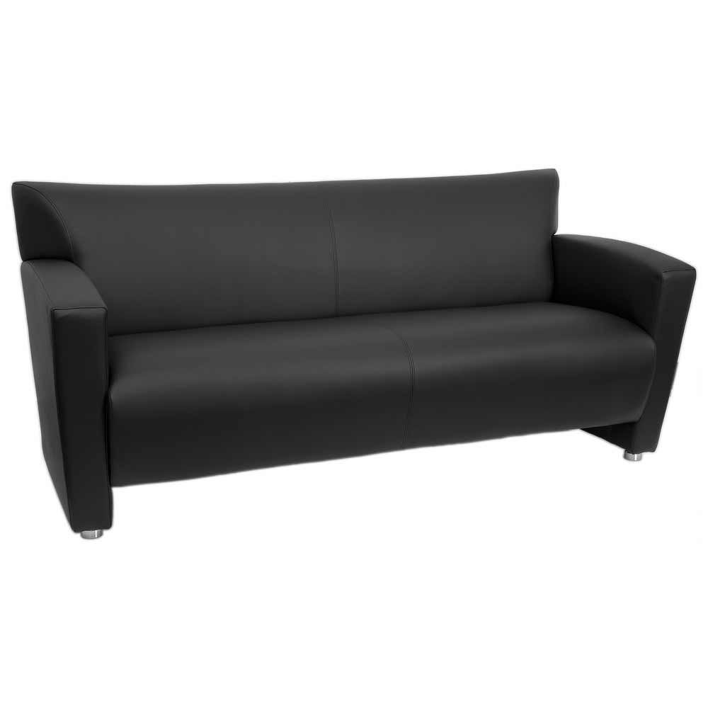 Nobel Eco Black Leather Reception Couch