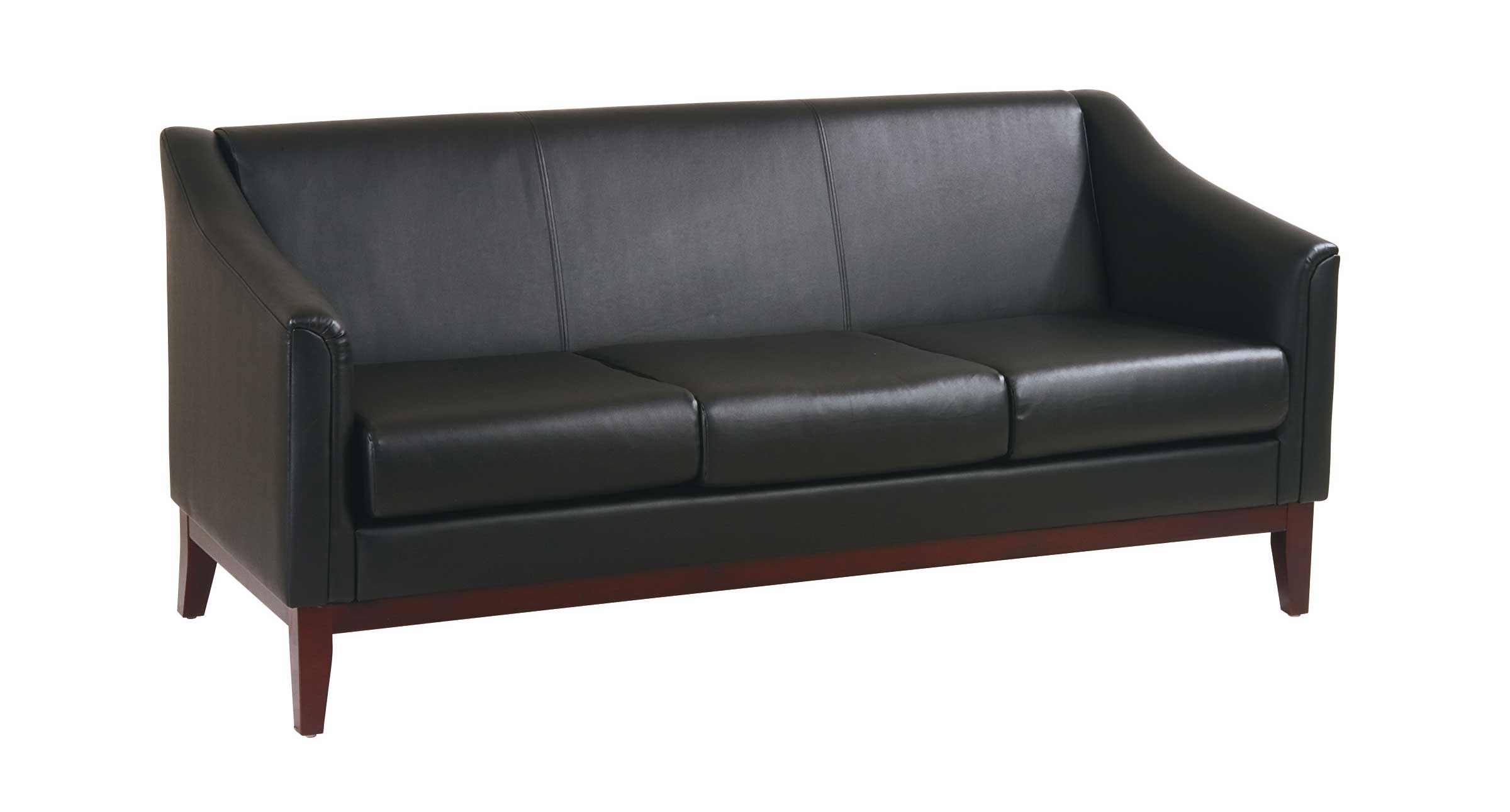 Office Star rolling black office visitor sofa with casters