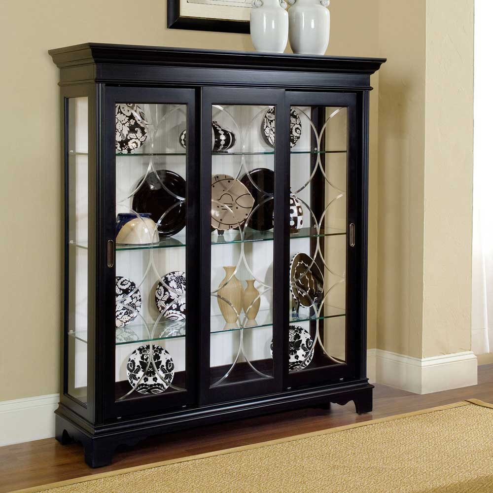 Oxford black corner curio cabinet with light