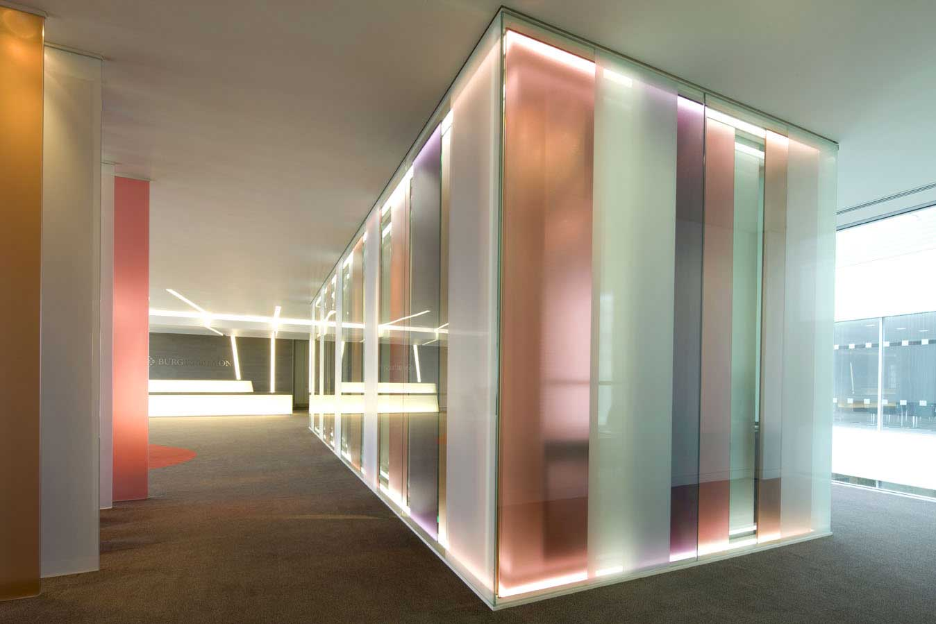 Rainbow office glass partitions ceiling style