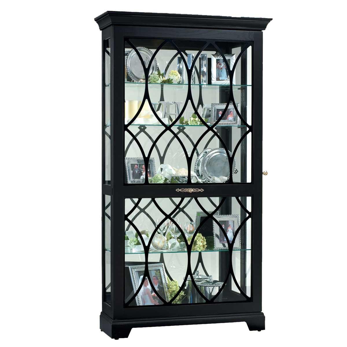 Ridgeway Burgess Corner Curio Cabinet in Solid Black