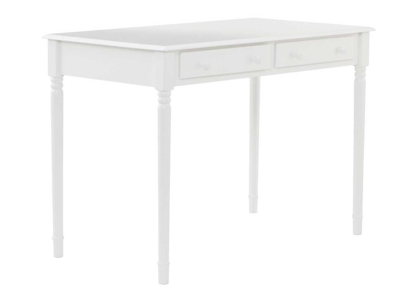 SEI crisp white wood desks with 2 drawer