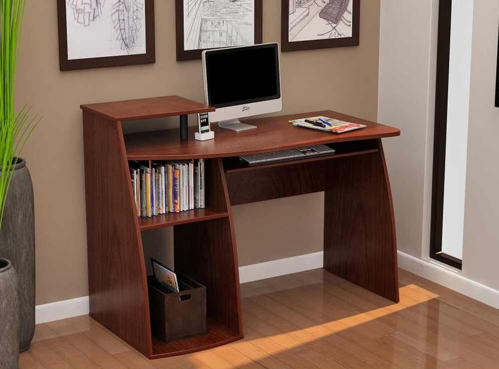 Stylish computer table with side bookshelf