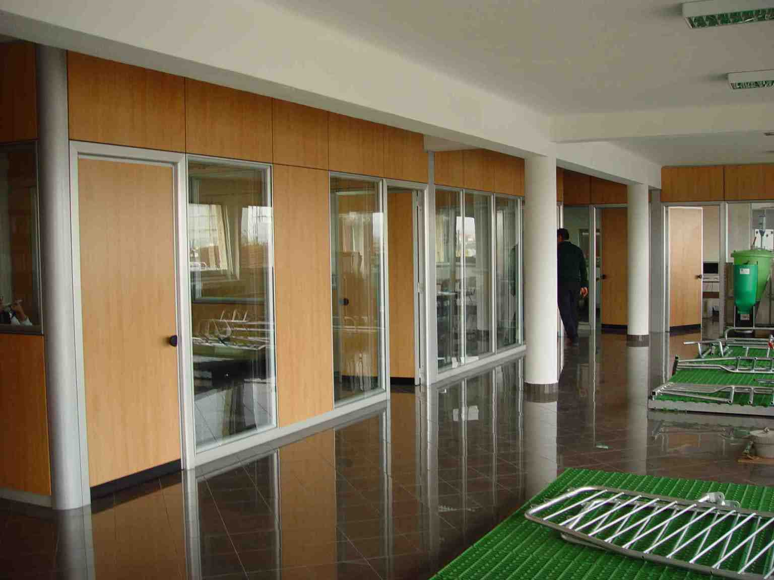 Transparent glass and solid wood office room dividers