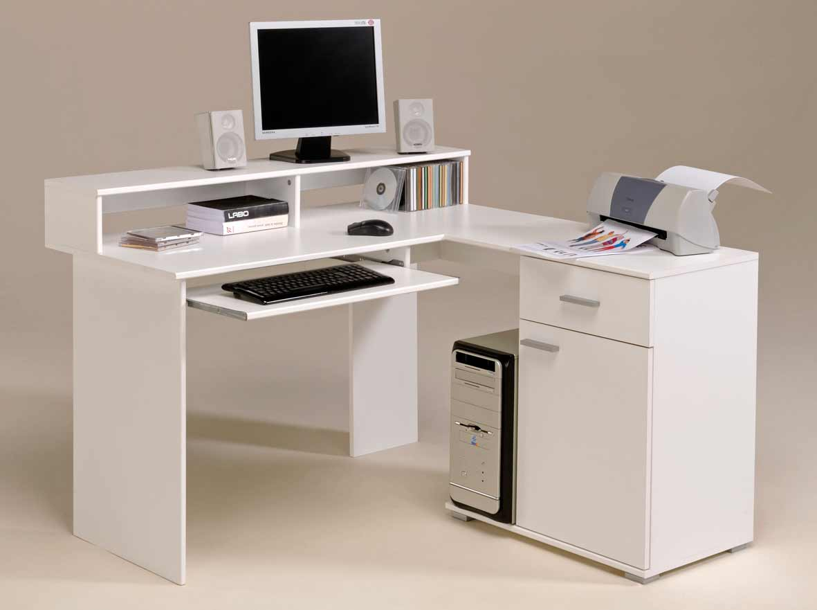 White Computer Desks for Corner with Hutch