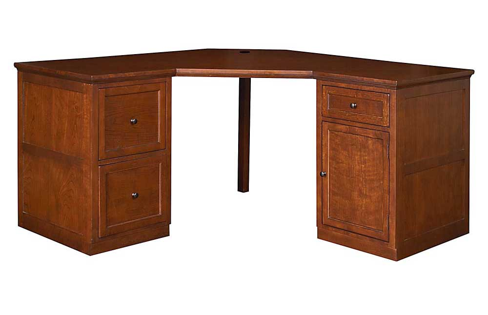 Wooden home office corner table with double pedestals