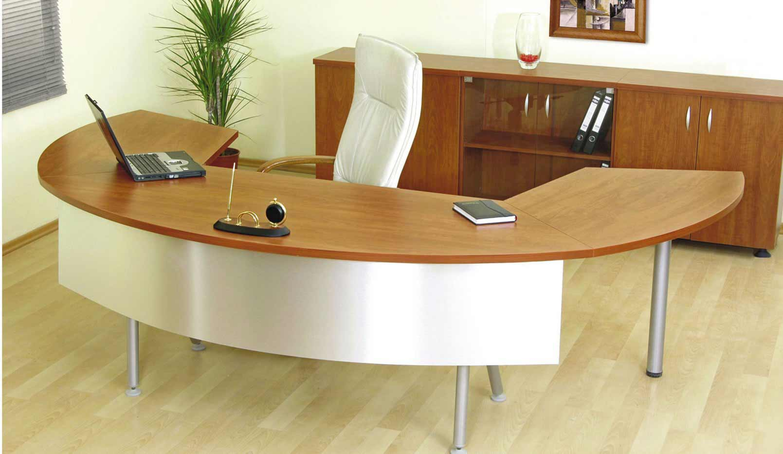 Wooden unique office desks in asymetric design
