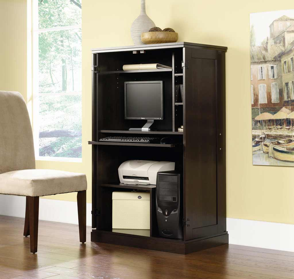 cheap computer armoire in black mahogany finish