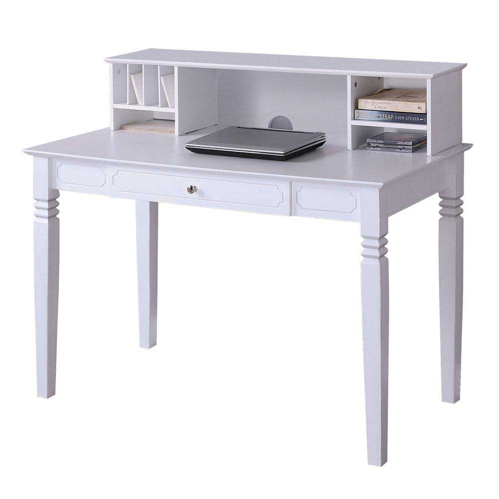 classic white wood laptop desks with hutch