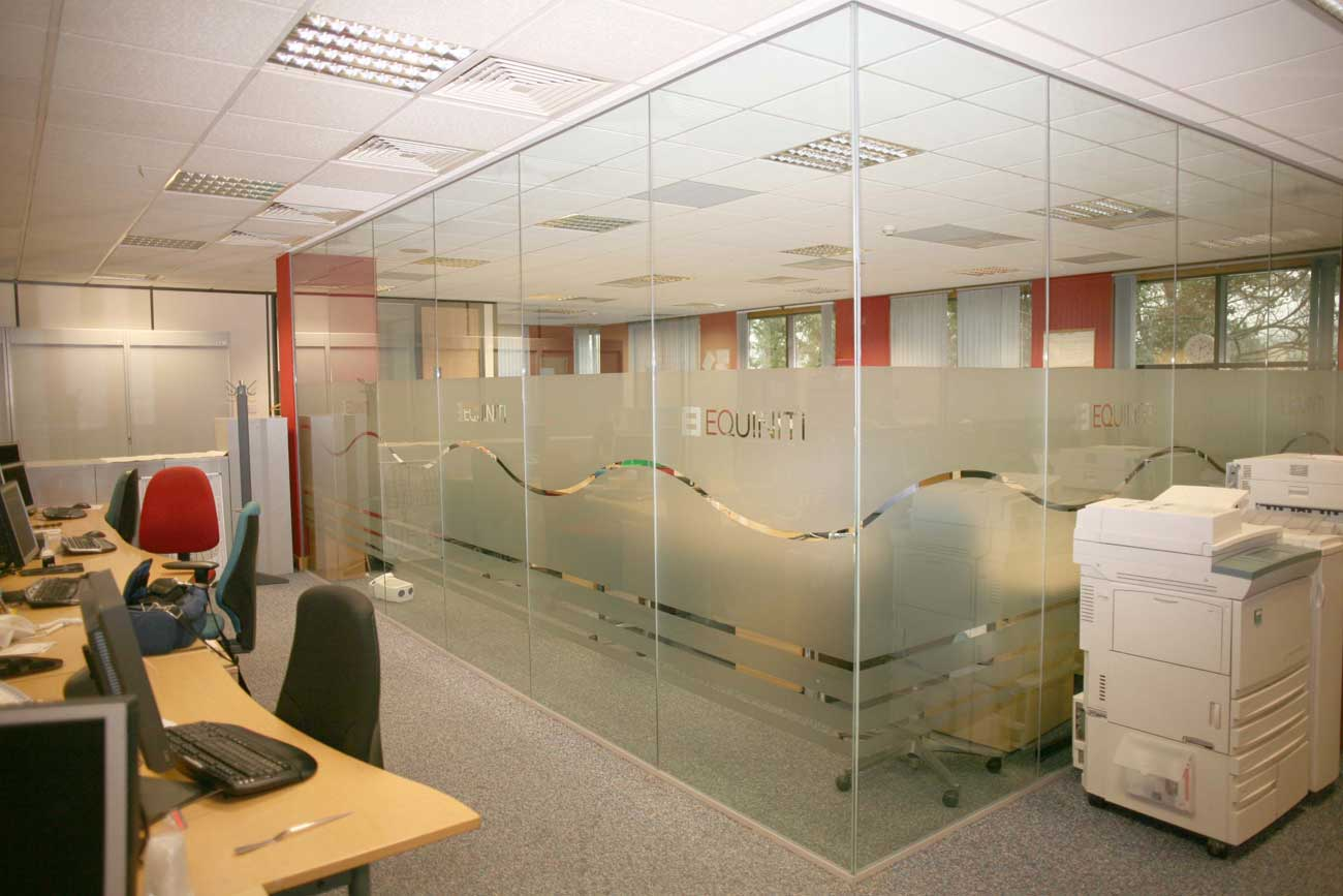 clear office glass partitions in UK