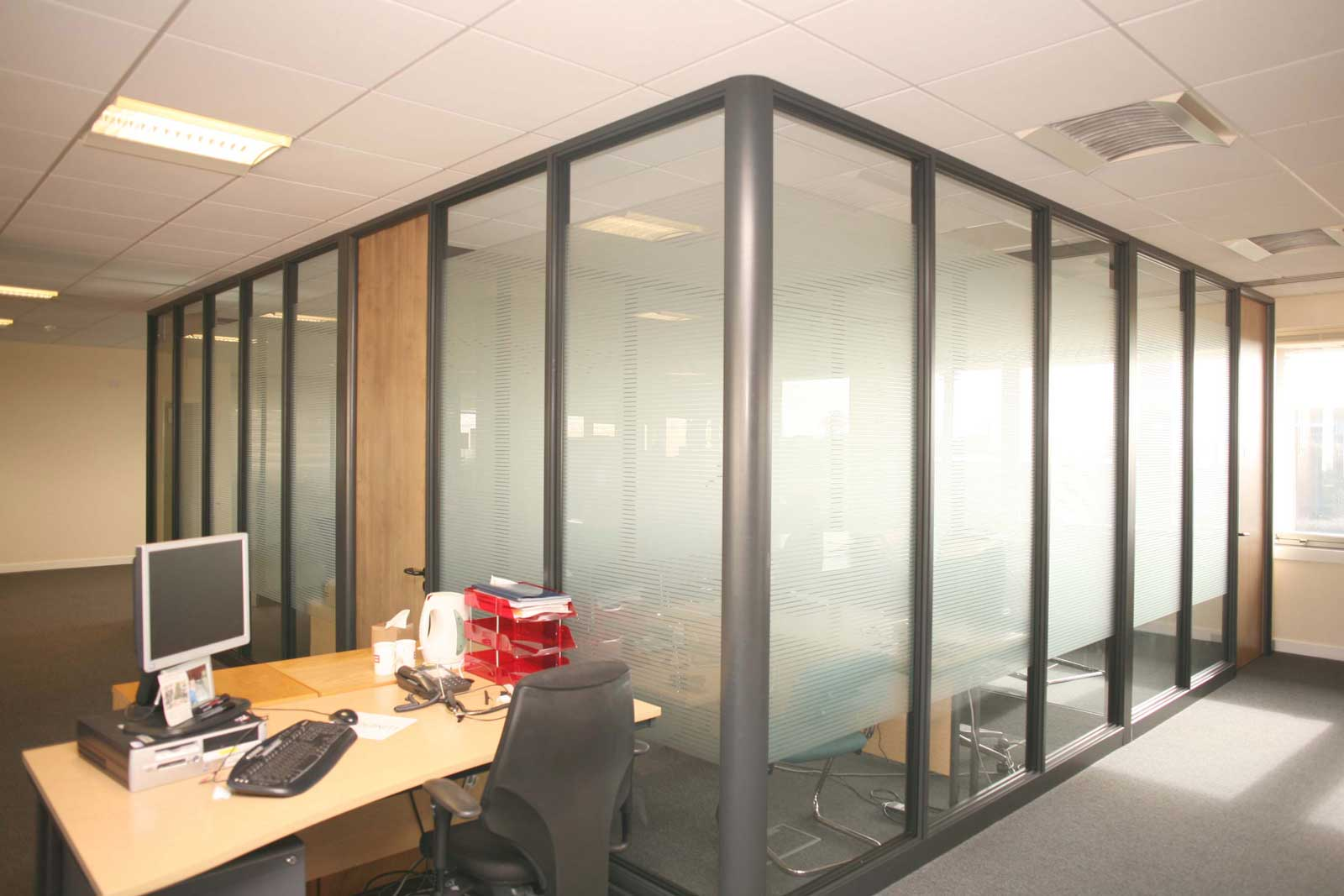 frosted glass top partitions for office
