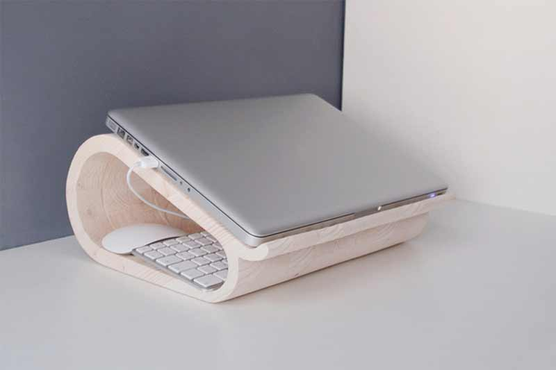 stylish wooden laptop stands with keyboard storage