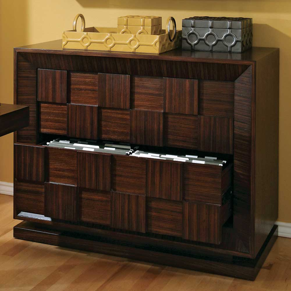 wood lateral file cabinet in block style
