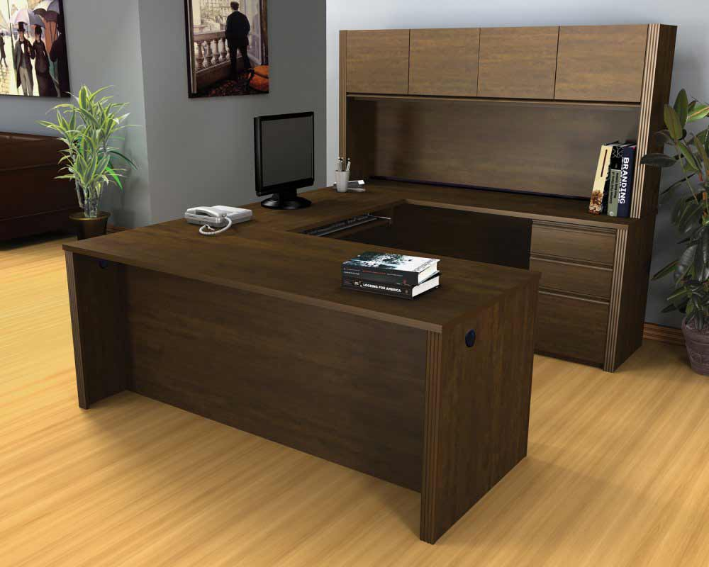 bestar u shaped modular desk system with hutch