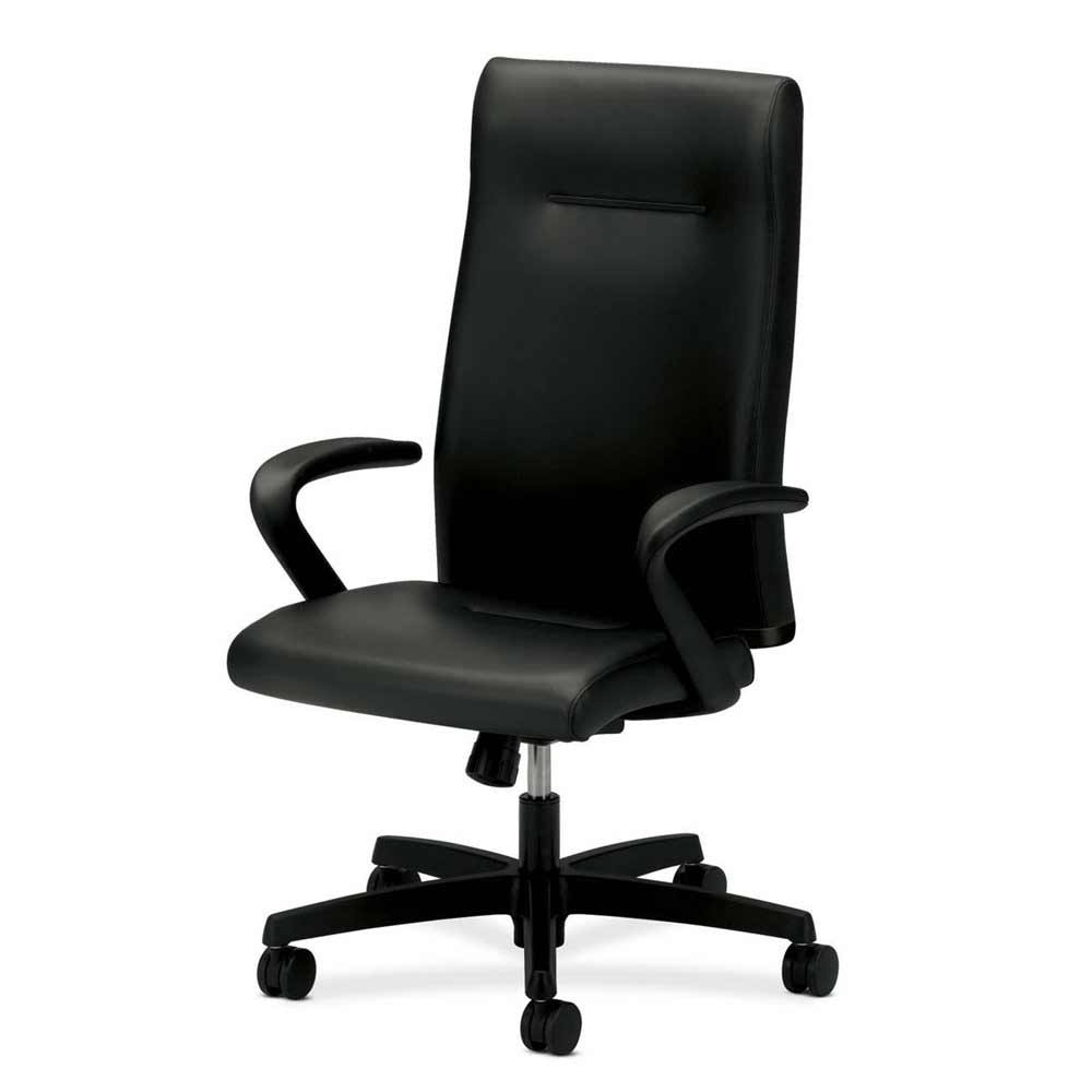 HON Ignition Black Leather High Back Rolling Desk Chair
