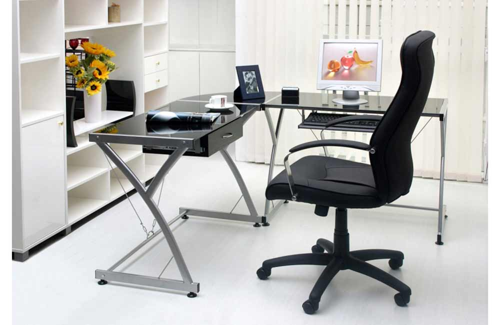 L Shaped Black Glass Work Desk