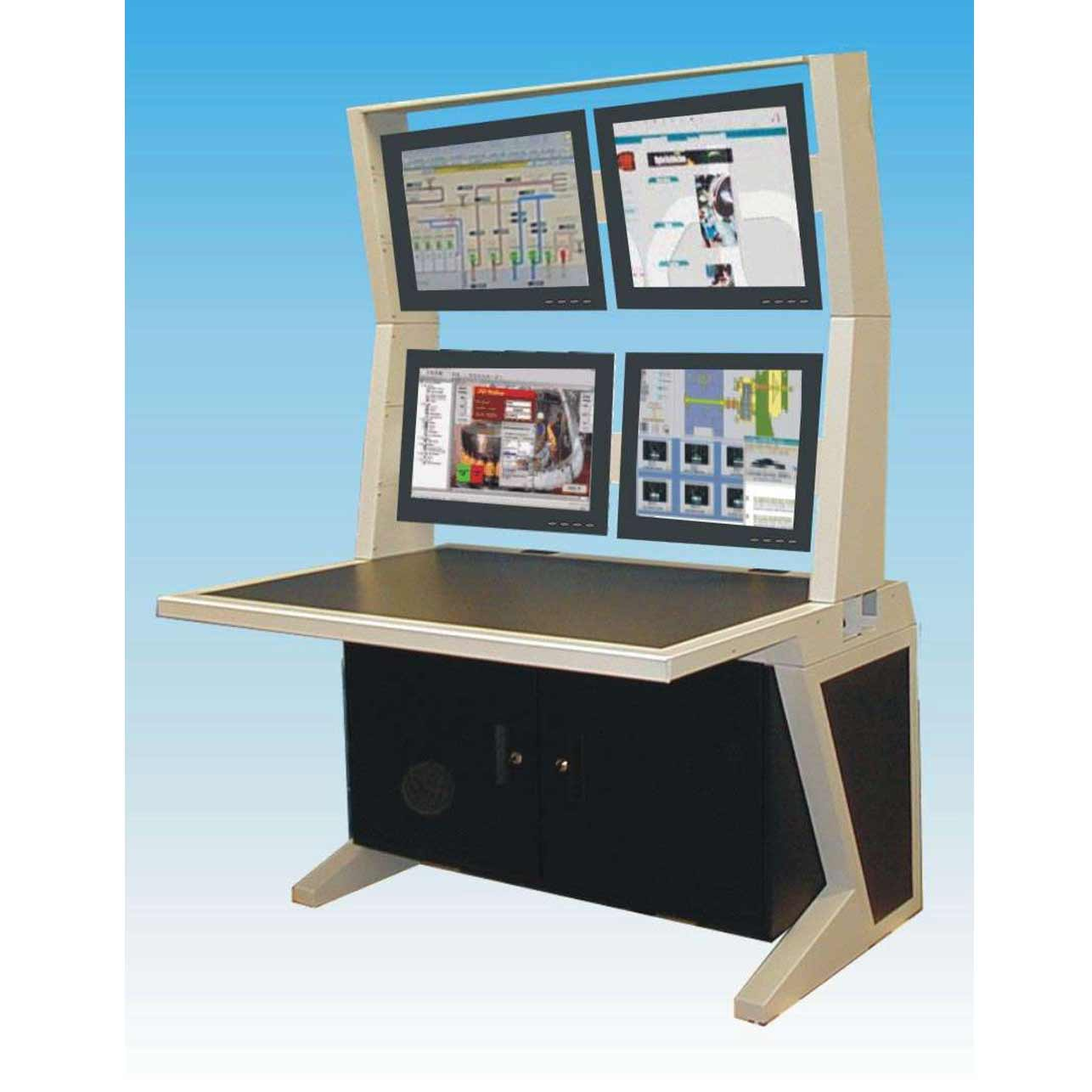Modern Office Computer Desk with Four Monitor Panels