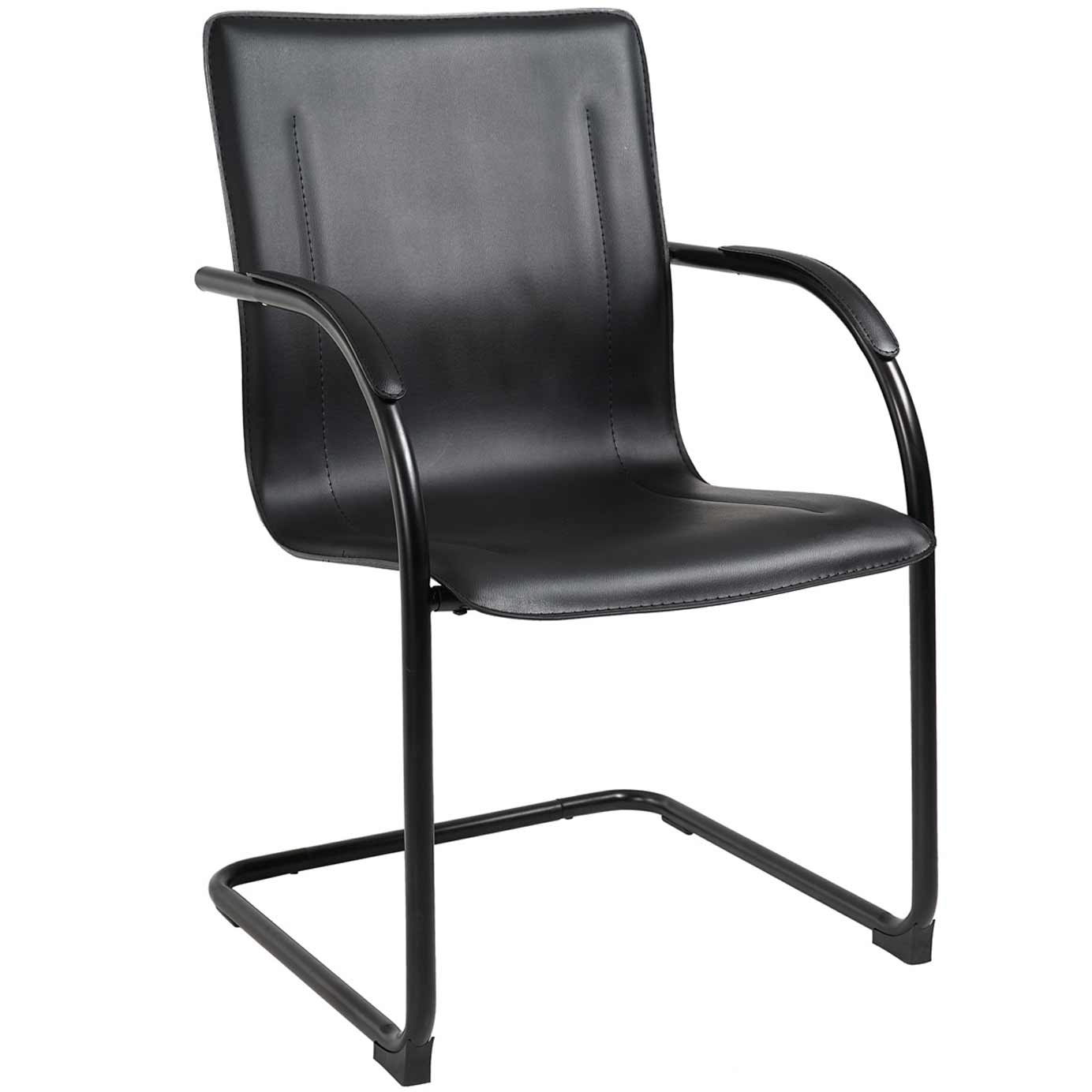 Used solid black guest chair