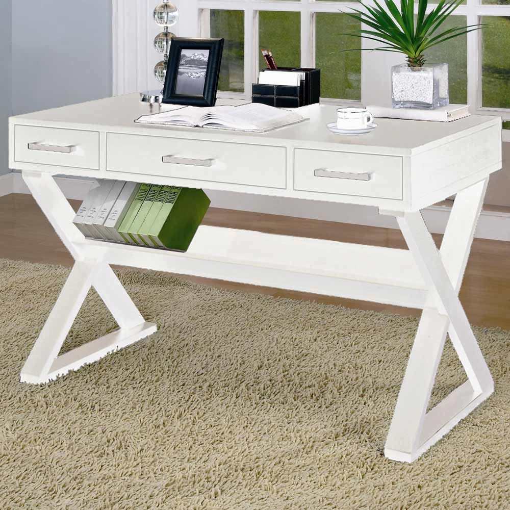 White Home Office Writing Desks with Drawers